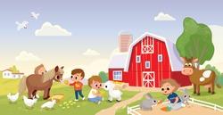 Kids children feed the animals at the farm, petting zoo. Boy feeding pony horse at farmyard. Boy feeding lamb. Girl feeding rabbit at animal farm.