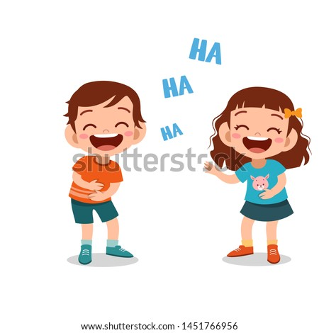 kids children laughing together vector