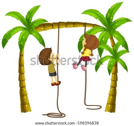Kids Climbing Rope On The Tree Download Free Vector Art Stock