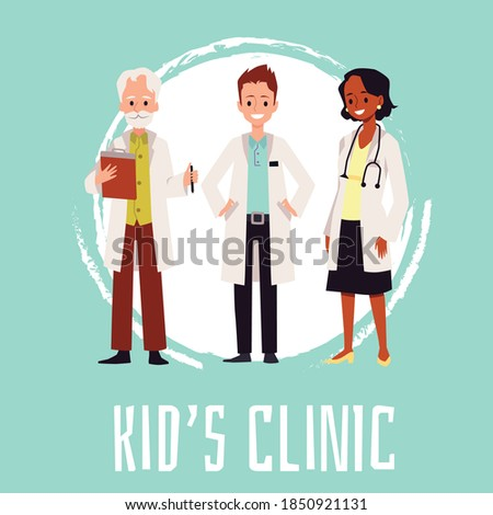 Kids clinic banner or square poster for social media with cartoon characters of doctors, flat vector illustration. Children healthcare clinic advertising poster.