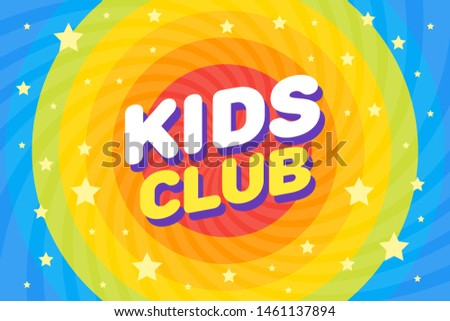 Kids club letter sign poster vector illustration in rainbow swirl cosmos space background.