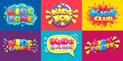Kids club posters. Toys fun playing zone, children games party and play area poster. Kid entertainment camp poster, preschool baby education room clubs banner vector illustration set
