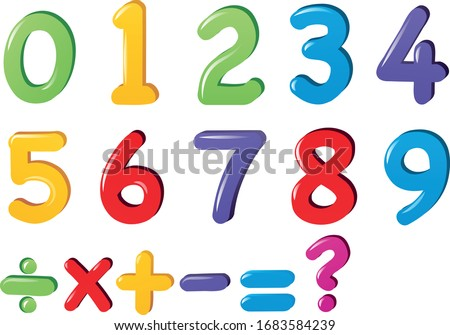 Kids Colored Cartoon Number Set. Vector set of 1-9 digit baby icons.  school Mathematical Symbols.