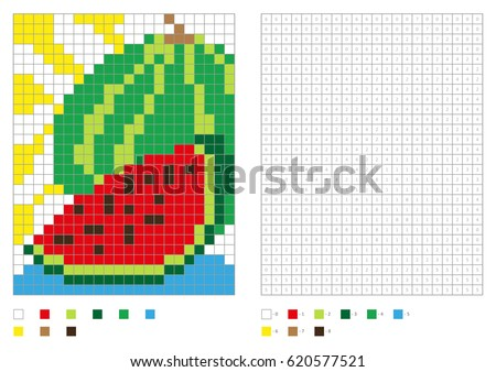 kids coloring page pixel coloring with numbered squares green watermelon vector illustration