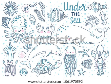 Kids Coloring Page Vector Set Of Underwater Animals Octopus Whale Turtle