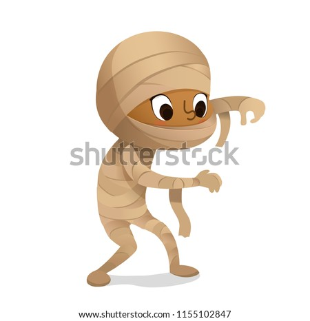 Kids Costume Party. African-American mummy Boy in Halloween mummy costume laughing scarring. Cartoon vector Character for party, invitations, web, mascot. Isolated