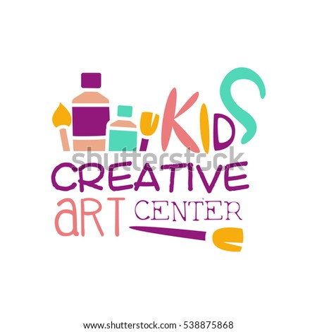 Kids Creative Class Template Promotional Logo With Paintbrush Symbols Of Art and Creativity