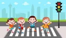 kids cross the road vector illustration