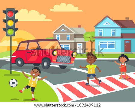 kids crossing road with red car