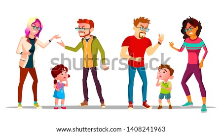 Kids Crying Because Parents Are Divorcing Vector. Angry Characters Husband And Wife Quarrel And Divorcing, Unhappy Children Boy And Girl Saddened. Family Conflict Flat Cartoon Illustration