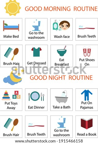 Kids Daily Responsibilities Chart, Kids Daily Routine, Chore Chart, Morning Evening Checklist, Daily Task List, Children Job Poster, Stock photo ©