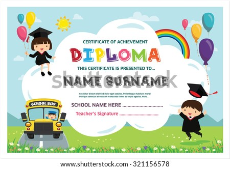 Kindergarten diploma certificate template download free vector art kids diploma certificate background design template yelopaper Choice Image