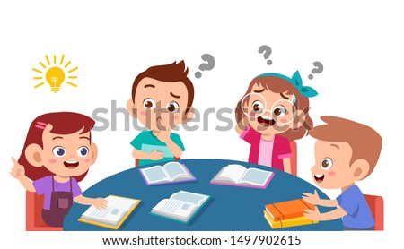 kids discuss homework and study together