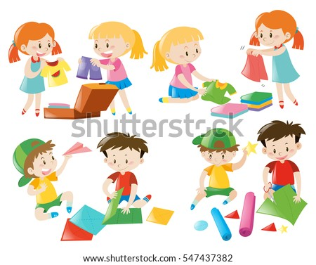 Kids doing different activities illustration