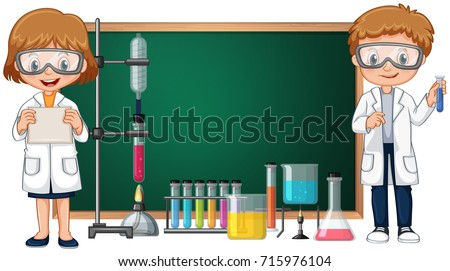 Kids doing science lab experiment with blackboard in background illustration
