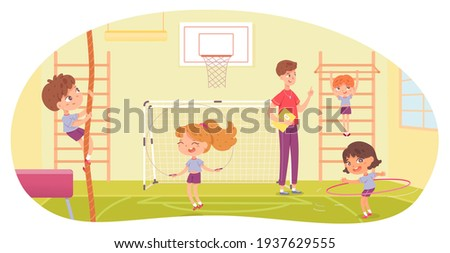 Kids doing various sports in physical education class at school. Children with teacher doing exercise in PE vector illustration. Girl skipping, with hula hoop, boy climbing and hanging on bar.
