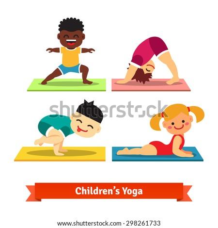 kids doing yoga poses on
