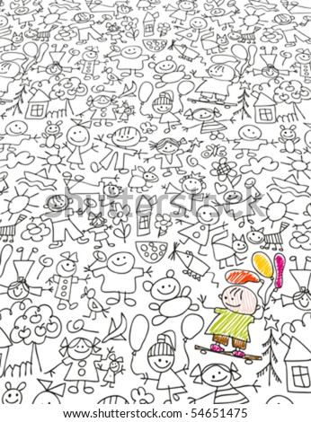 Kids doodles like kids drawing styled