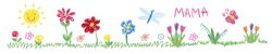Kids drawing flowers, sun. Multicolored symbols set for kindergarten, school. Children pattern.