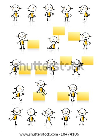 kids drawing style educational icon set. Cute girl character series, grouped and layered for easy editing. See similar in my portfolio - stock vector