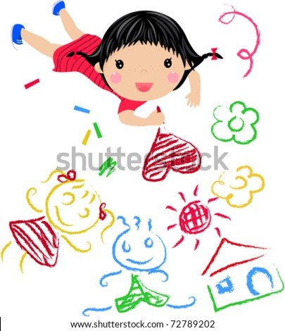 Kids Drawing - Vector