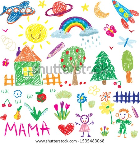 kids drawing vector elements
