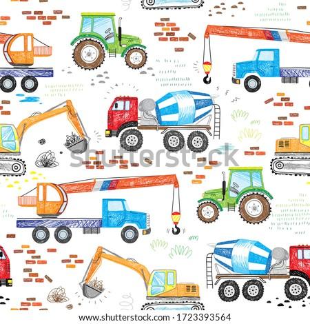 kids drawn construction trucks, tractor excavator crane cement mixer doodle seamless pattern