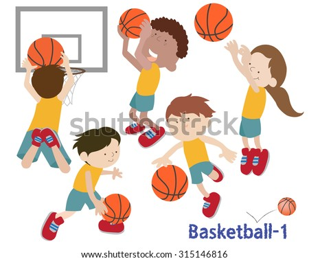 kids dribbling and shooting