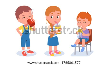 Kids drinking water. Preschooler boy & girl stand & drink beverages, toddler sit on chair holding bottle. Thirsty kids with tea, juice drinks. Children cartoon characters set. Flat vector illustration