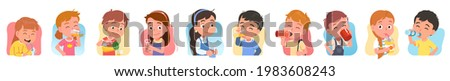 Kids drinking water set. Girls, boys hold bottles, glasses, cups, enjoy drinking beverages. Thirsty people with soda, water soft drinks. Children quenching thirst. Hydration flat vector illustration