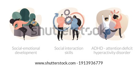 Kids emotional management abstract concept vector illustration set. Social development and interaction skills, attention deficit hyperactivity disorder, autism diagnostics, ADHD abstract metaphor. Foto stock ©