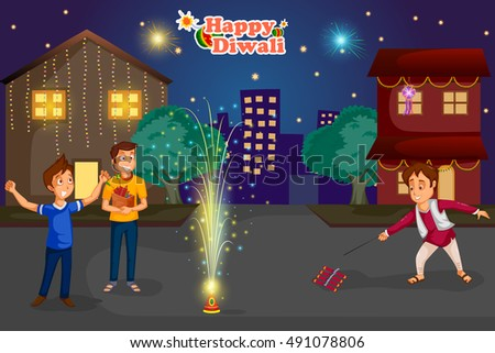 kids enjoying firecracker celebrating Diwali festival of India in vector