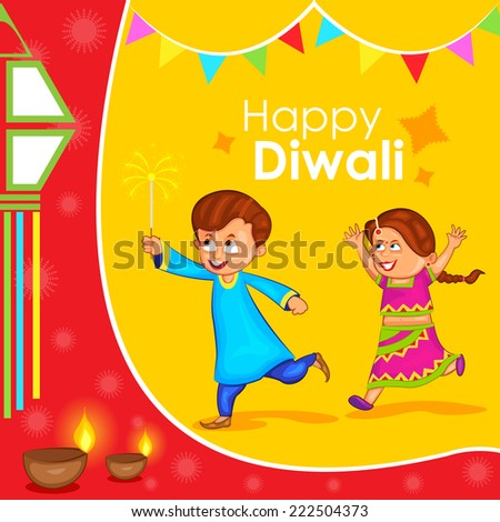 kids enjoying firecracker celebrating Diwali in vector