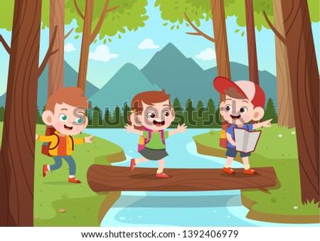 kids exploring jungle vector illustration