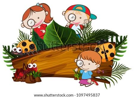 Kids Exploring the Nature Banner illustration
