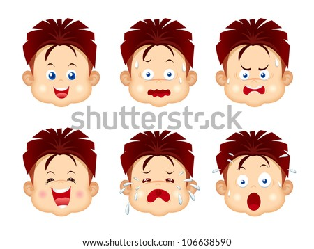 Kids Faces Vector Kids Face Expressions Stock