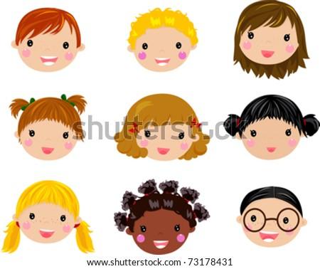 Kids Faces Vector Kids Face Set