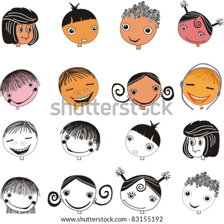Kids faces set isolated on White background. Face icon, happy people cartoon sketch. Vector illustration
