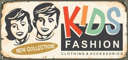 Kids fashion retro boutique sign design with boy and girl portraits. Vintage vector trade sign template with children graphic. Old poster advertisement for kids clothing.