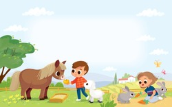 Kids feed the animals in the farm. Boy feeding a pony. Pets care. Girl feeding rabbits. Summer background with farm building.