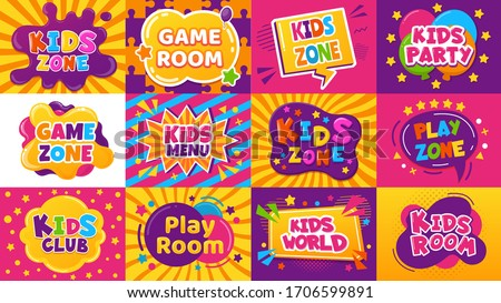 Kids game zone banner. Children game party posters, kid play area, entertainment, education room. Baby playground posters vector illustration set. Kid area for game play, menu for childen emblem
