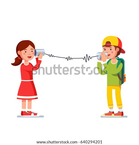 Kids girl and boy experimenting talking on a wired tin cans phone transforming sound waves to rope vibration. Flat style character vector illustration isolated on white background.