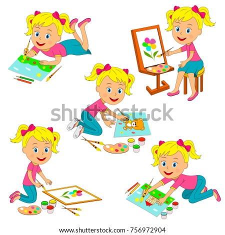 kids  girl drawing collection