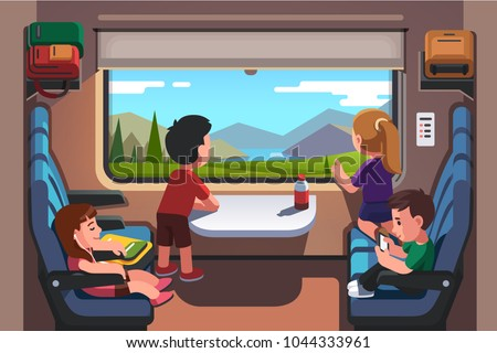 Kids girls & boys traveling by train together. School students group going on summer holiday road trip. Passenger rail car interior. Children looking out of window. Flat style vector illustration
