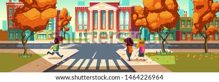 Kids go to school, little students, boys and girl wearing uniform and backpacks walking along street with autumn trees and crosswalk to educational institution building. Cartoon vector illustration