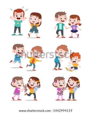 kids good and bad vector illustration