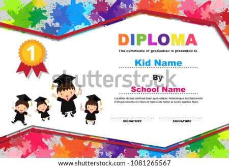 Kids graduation certificate background design template.Diploma with lovely children