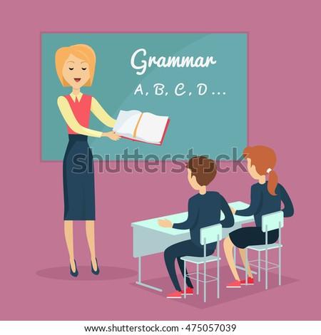 kids grammar teaching concept