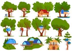 Kids green tree house vector illustration set. Cartoon flat ecological treehouse for child playing and party collection, beach bungalow among palm trees, eco playhouse in garden isolated on white