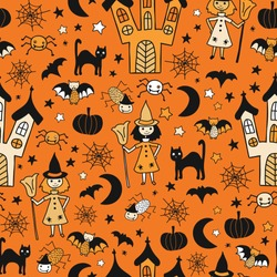 Kids Halloween background. Seamless vector pattern with hand drawn witch, spooky castle, cats, spiders, bat. Cute Halloween illustration. Fabric, gift wrap, invitations, scrap booking, digital paper